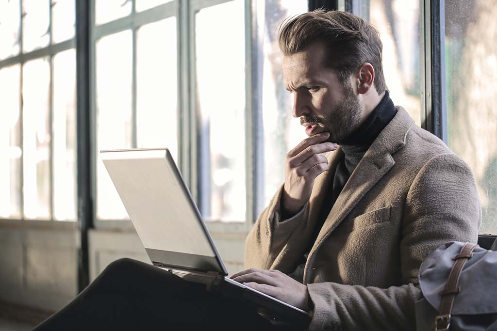 Businessman thinking about his business model strategy