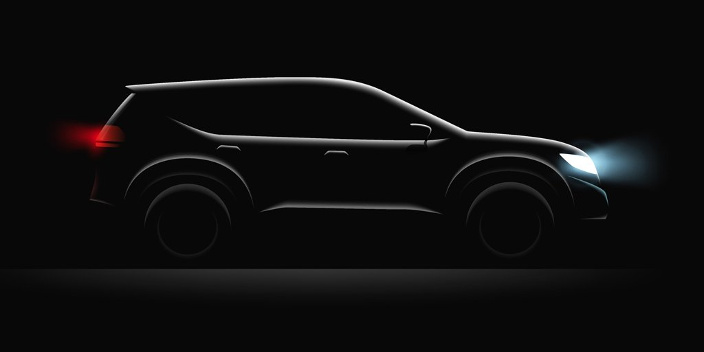 Black car the headlights on