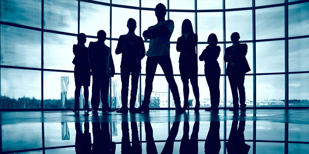 Confident teamwork silhouette