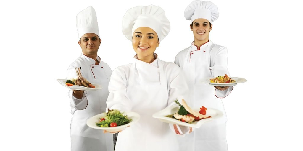 Three chefs cookers with their culinary creations