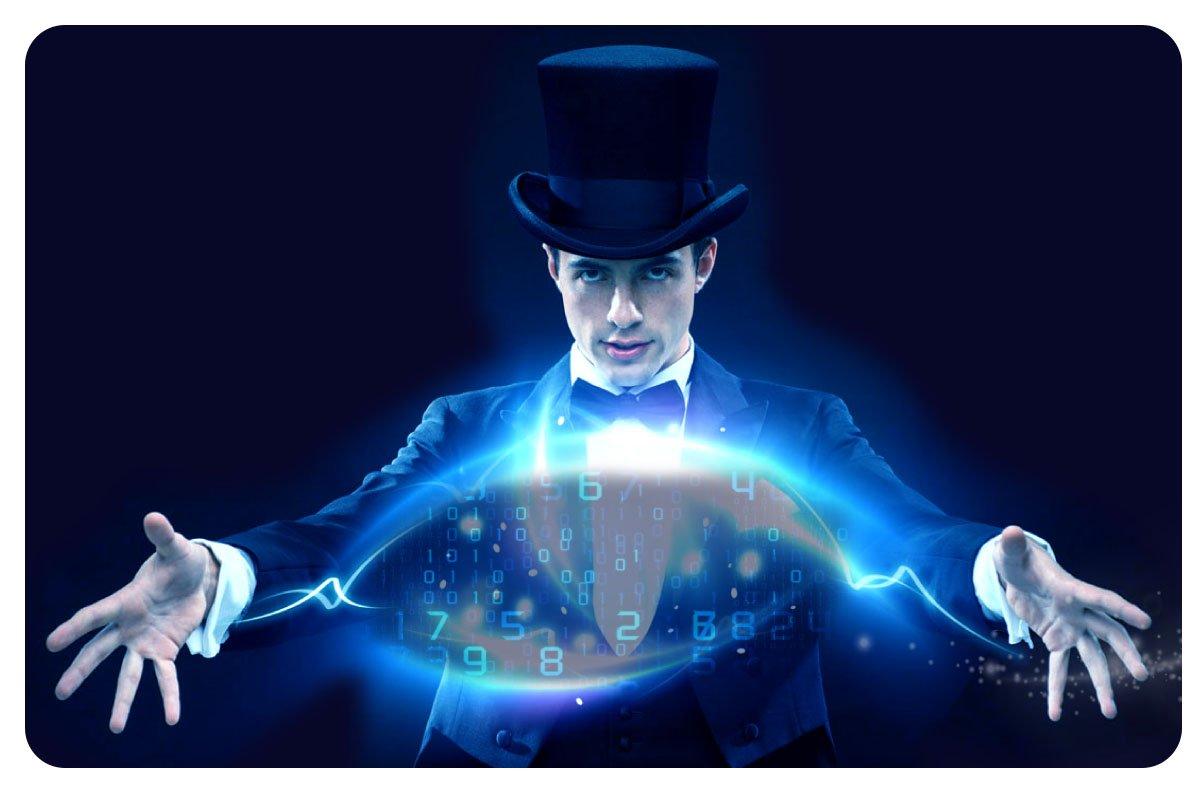 "Magician doing his ""data"" magic tricks"